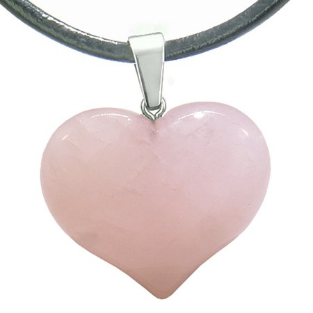 Amulet Large Puffy Heart Rose Quartz Gemstone Healing Powers Leather Pendant Necklace