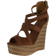 Qupid Womens Florence-34 Wedge Sandals
