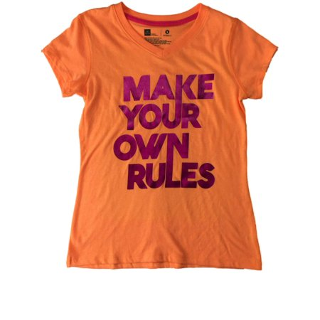 Girls Neon Orange & Pink Make Your Own Rules Inspirational Tee Shirt T-Shirt - Make Your Own T Shirts