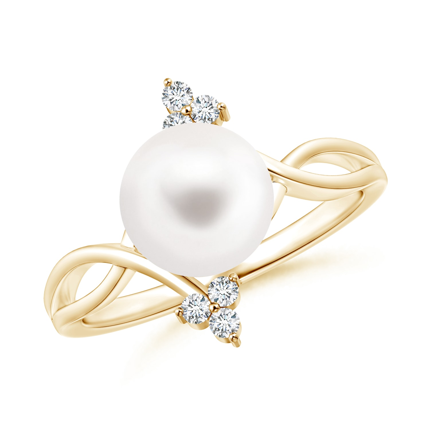 Angara FreshWater Cultured Pearl Bypass Ring with Trio Diamonds cfk2pNIXIC