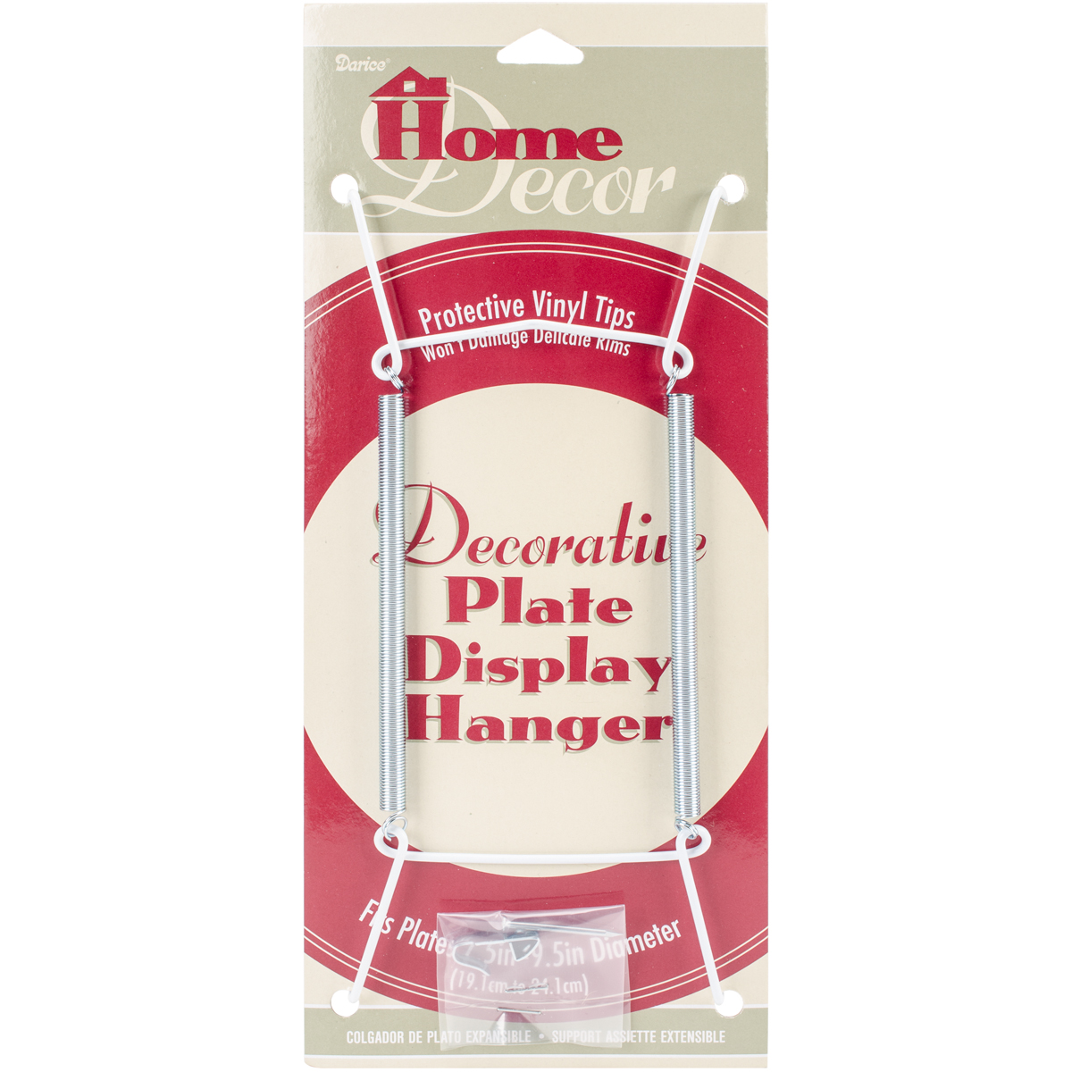 "Decorative Plate Display Hanger Expandable 7.5"" To 9.5""-White"