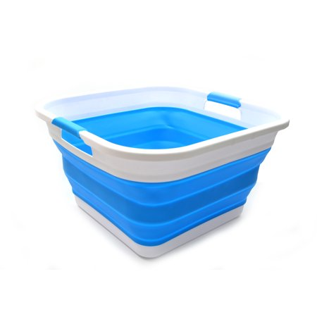 Sammart Set Of 2 Collapsible Plastic Laundry Tub Square Basket Foldable Storage Container