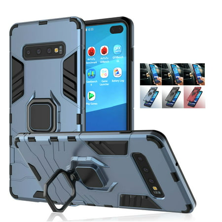 Cases for Galaxy S10 / Galaxy S10 Plus / Galaxy S10e / Galaxy S10+, Njjex Shockproof Hybrid Hard Cover PC + Soft Silicone Protective Combo Armor Defender Protective Case with Kickstand Magnetic Case