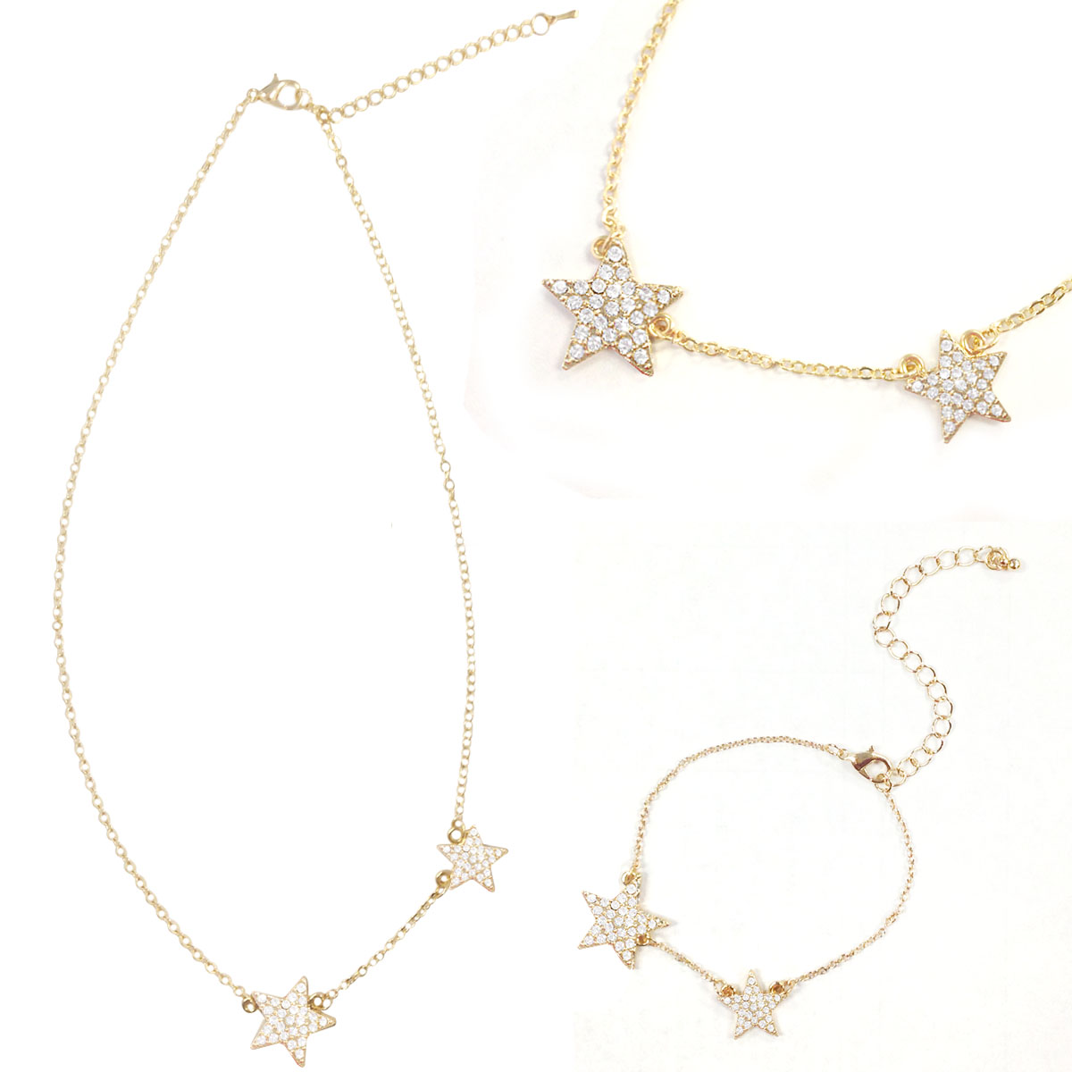 Wrapables® Gold Plated Petite Double Crystal Star Pendant Necklace and Bracelet Jeweley Set