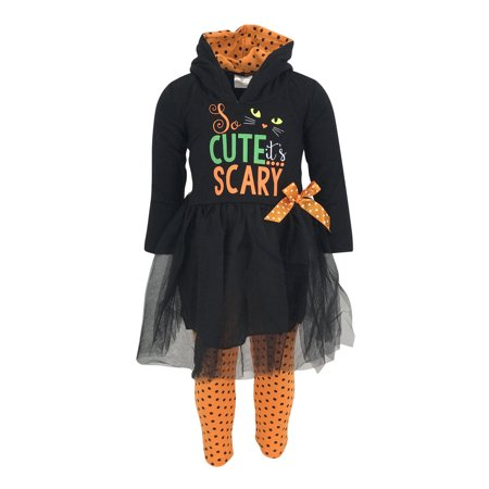Unique Baby Girls Scary Cute Black Cat Halloween Hoodie Outfit (2T/XS, Black) (Cute Halloween Drink Names)