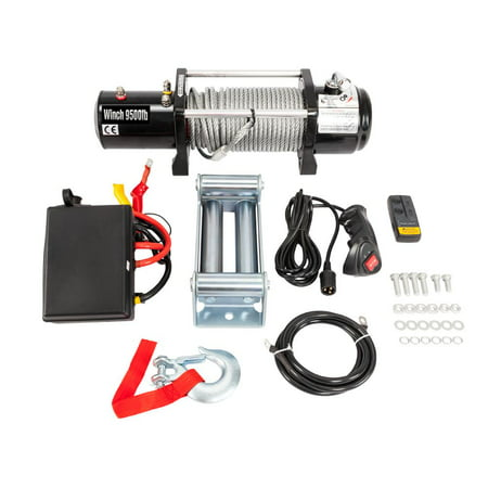Steel Winch - Zimtown Classic 12V 9500LBS Electric Winch Towing Truck Trailer Steel Cable Off Road