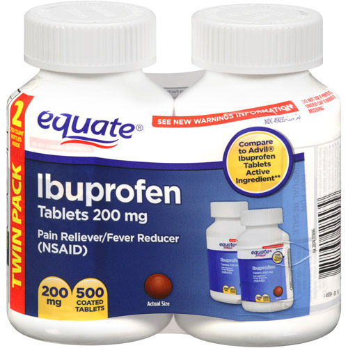 Equate Ibuprofen Pain Reliever/Fever Reducer Coated Tablets, 250ct, 2pk