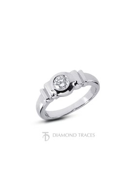 0.40ct D-SI3 Ideal Round Natural Diamond 14k Gold Vintage Solitaire Ring 4.11mm