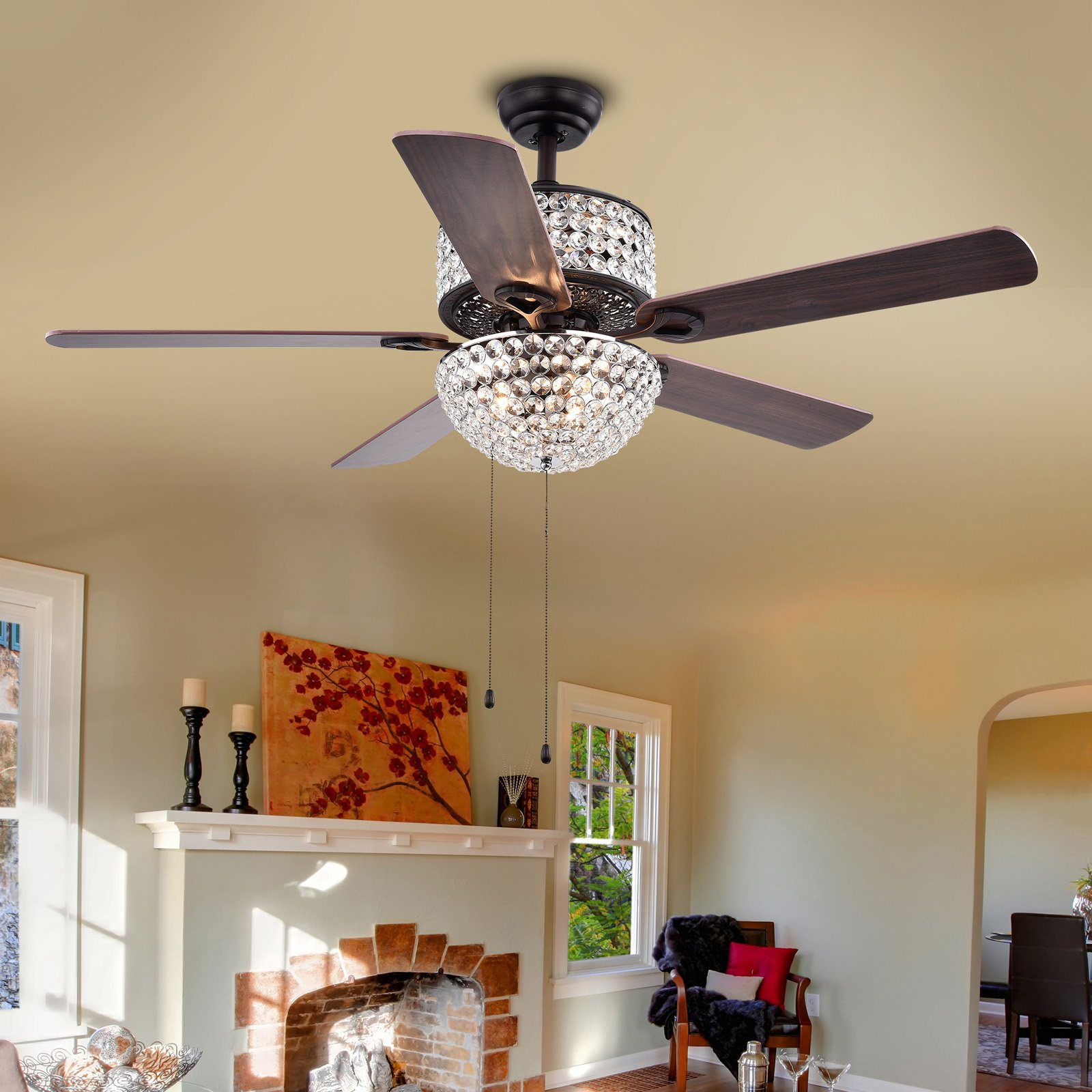 Laure Crystal 6 Light Crystal 5 Blade 52 Inch Ceiling Fan
