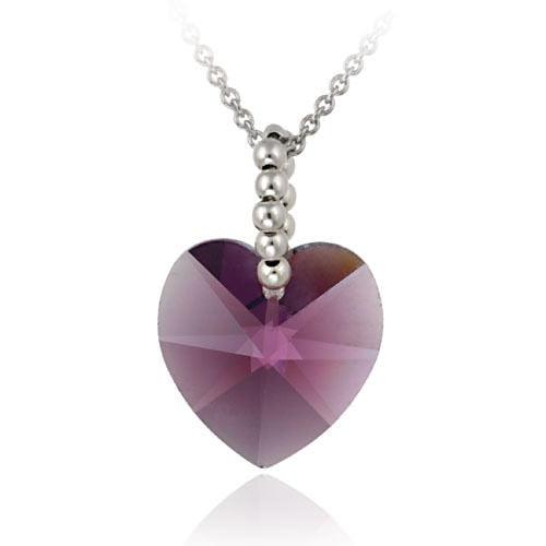 Sterling Silver Amethyst Swarovski Elements Heart Pendant