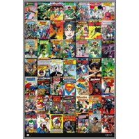 "DC Comics - Framed Comic Poster / Print (49 Comic Covers Collage - Batman, Green Lantern, Superman, Wonder Woman...) (Size: 24"" x 36"")"
