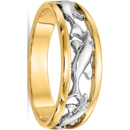 14k Two-Tone Gold With Rhodium Dolphin Ring - image 5 of 5