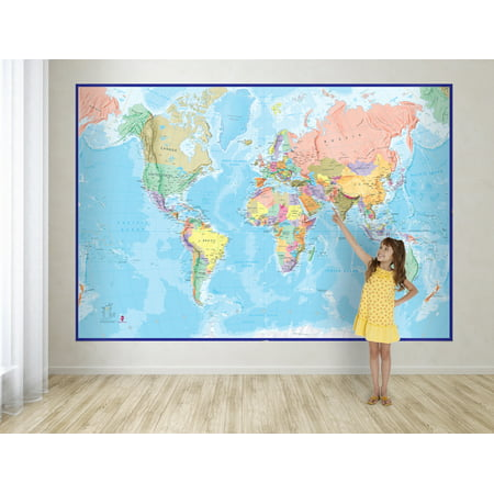 Waypoint geographic giant world wall map mural with blue for Blue world map wall mural