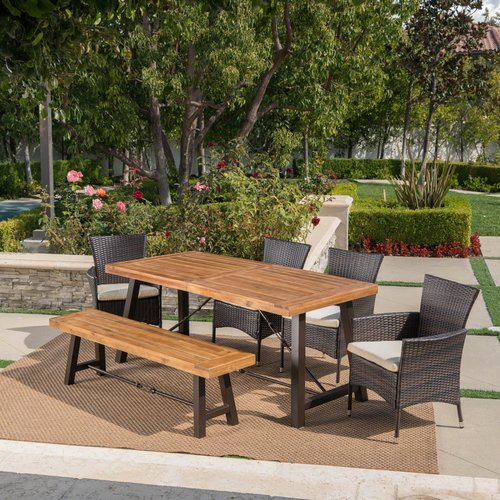 Brayden Studio Antora Outdoor 6 Piece Dining Set with Cushions