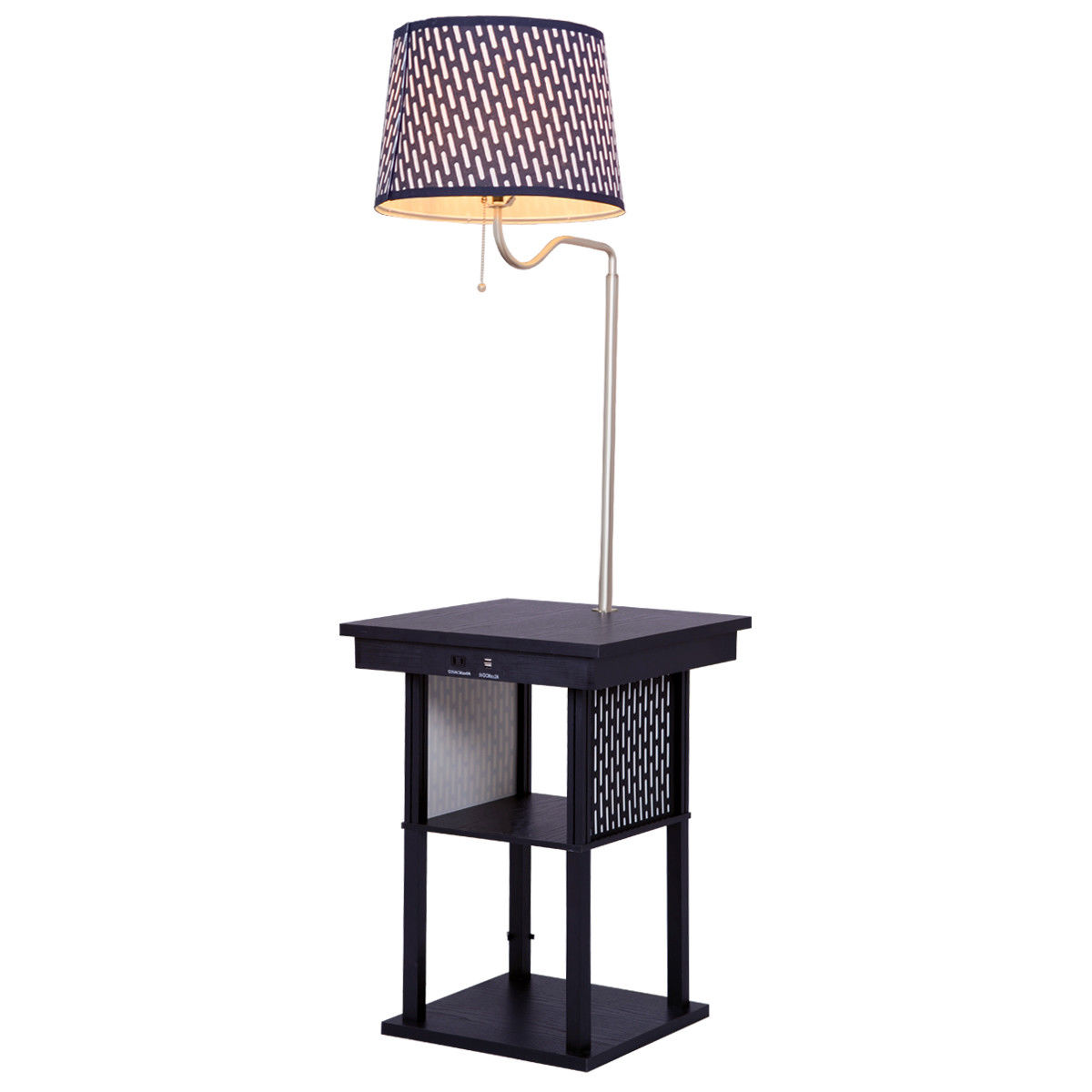 Gymax Floor Lamp Swing Arm Lamp Built In End Table w  Shade 2 USB Ports Living Room by Gymax