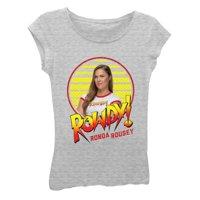 WWE Girls' Big Ronda Rousey Short Sleeve T-Shirt, Heather Grey, S-7