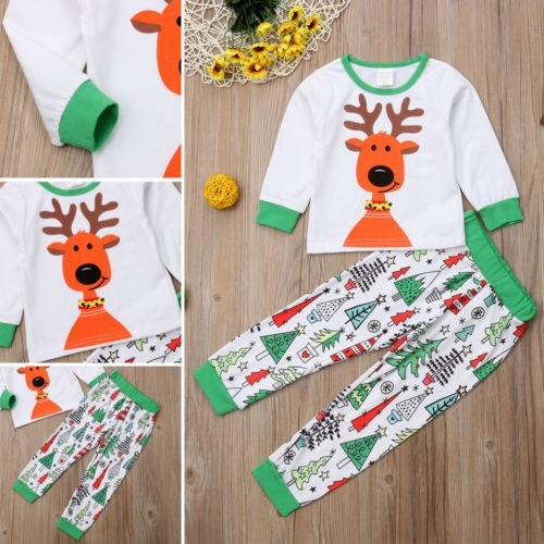FLOGZONE Matching Christmas Pajamas for Family and Couples Toddler Girl Boy Xmas Elk Homewear Elk Print