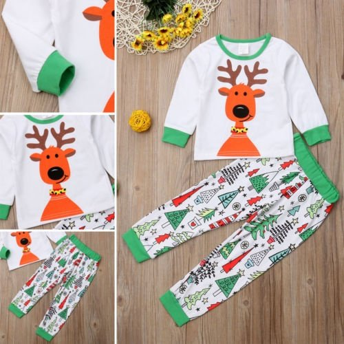 f6df337a5 Baby Christmas Clothes Kids Boy Girl Pajamas Set Deer Print Top Xmas Tree  Pants Sleepwear Outfits 2pcs Hello! Welcome to our store!