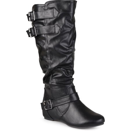 Women's Extra Wide Calf Buckle Slouch Low-wedge Boots](Boots Low Price)