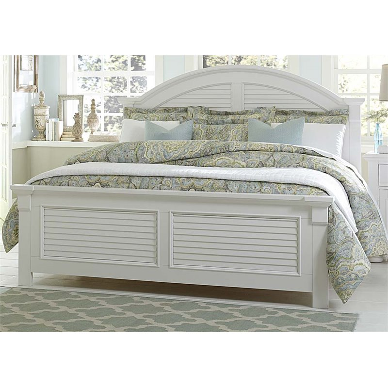 Liberty Furniture Summer House I Queen Panel Bed in Oyster White