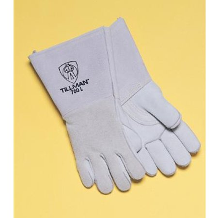 Tillman Large 14'' Pearl Gray Top Grain Elkskin Cotton Foam Welders' Gloves With Stiff Cowhide Thumb, Straight Cuff, Welted Fingers, Kevlar Stitching And Pull Tab (Carded)