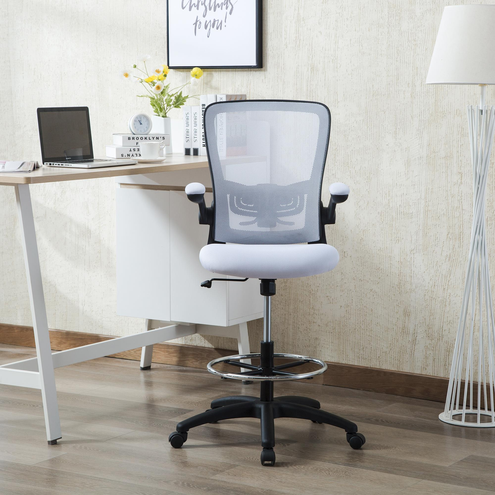 Serena Mesh Drafting Chair Tall Office Chair For Standing Desk By Naomi Home Base Color Black Color White Walmart Com Walmart Com