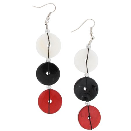 Red Black White Mother Of Pearl Circle Disc 3 3/4