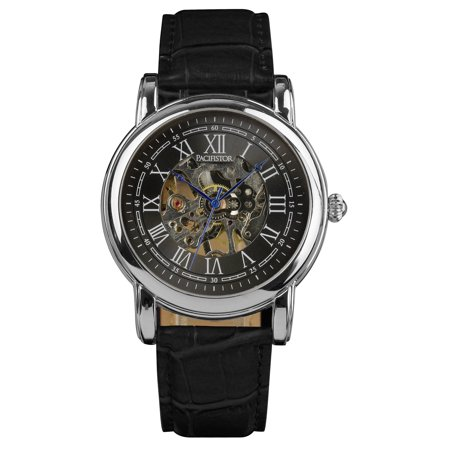 PACIFISTOR Watch Mechanical Silver Case Leather Strap Hand-winding Birthday Gift for Friends Lovers Young (Silver Case Leather Strap)