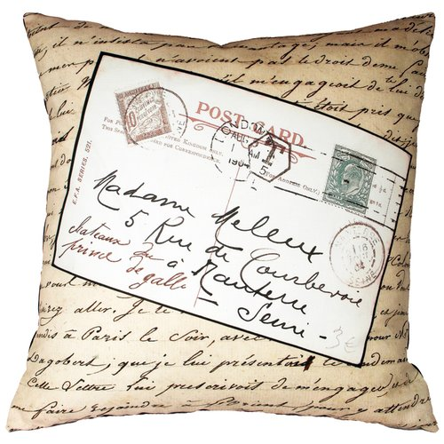 Uptown Artworks French Vintage Postcard Throw Pillow