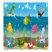 Kids Shower Curtain, Funny Sea Animals Underwater Ocean View with Sail Boat Palm Trees Cartoon Artwork, Fabric Bathroom Set with Hooks, Multicolor, by Ambesonne