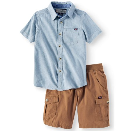 Swiss Cross Short Sleeve Button Up Shirt with Pull On Short, 2-Piece Outfit Set (Little Boys) (Little Boy Ring Bearer Outfits)