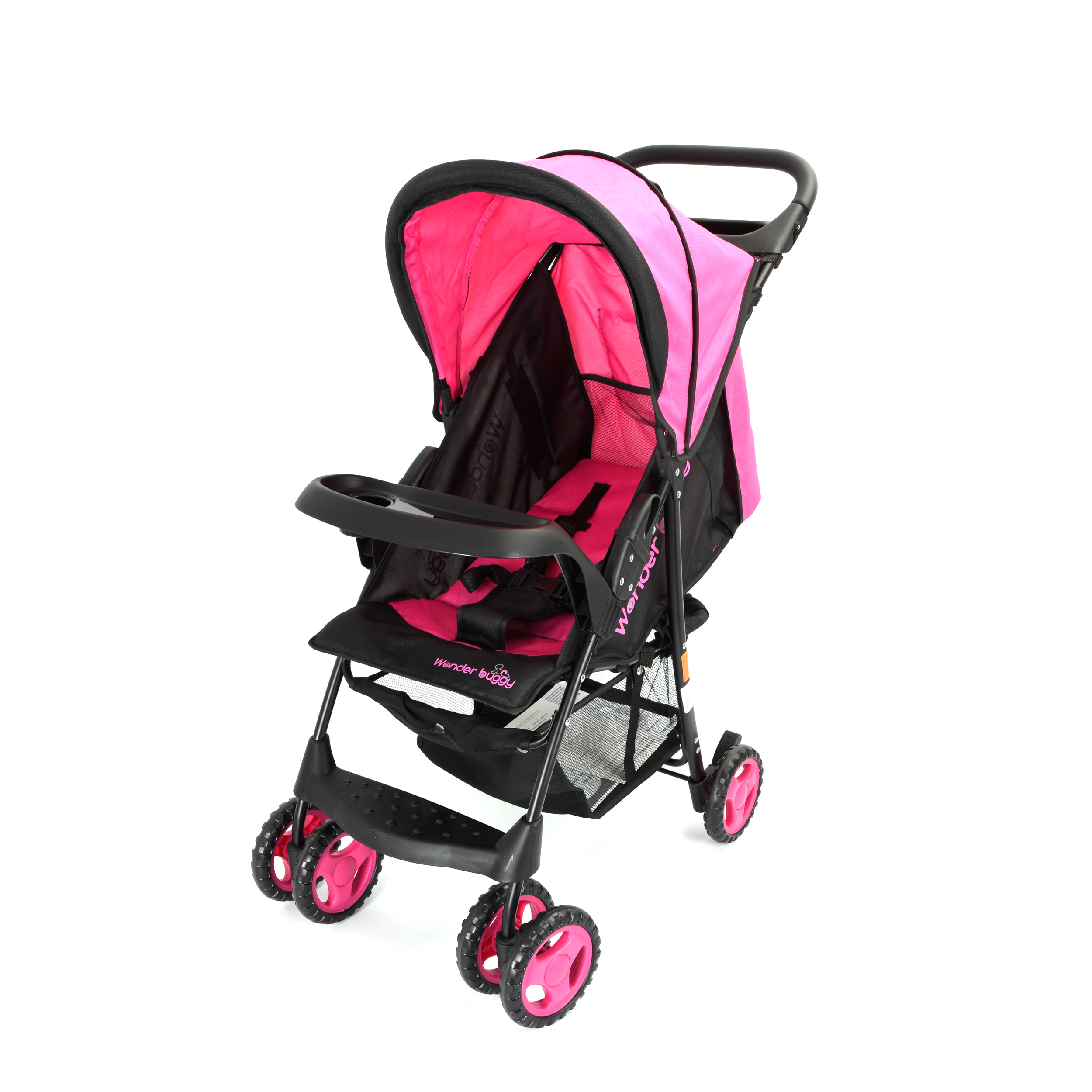 Wonder Buggy Roadmate Multi Position Compact Stroller With Canopy,Basket & Toy Tray - Black