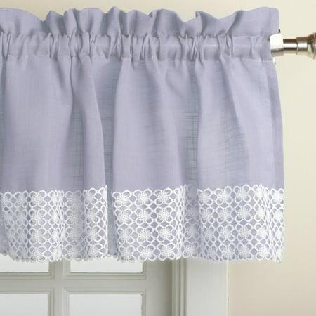 Salem Kitchen Window Curtain w/ Lace Trim - 12 x 60 Valance - Blue ()