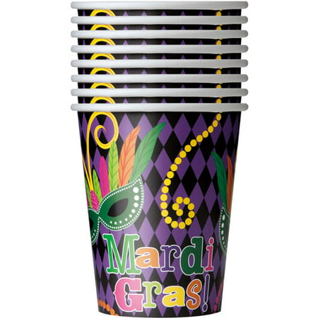 9oz Mardi Gras Party Paper Cups, 8ct (Mardi Gras Party Supplies)