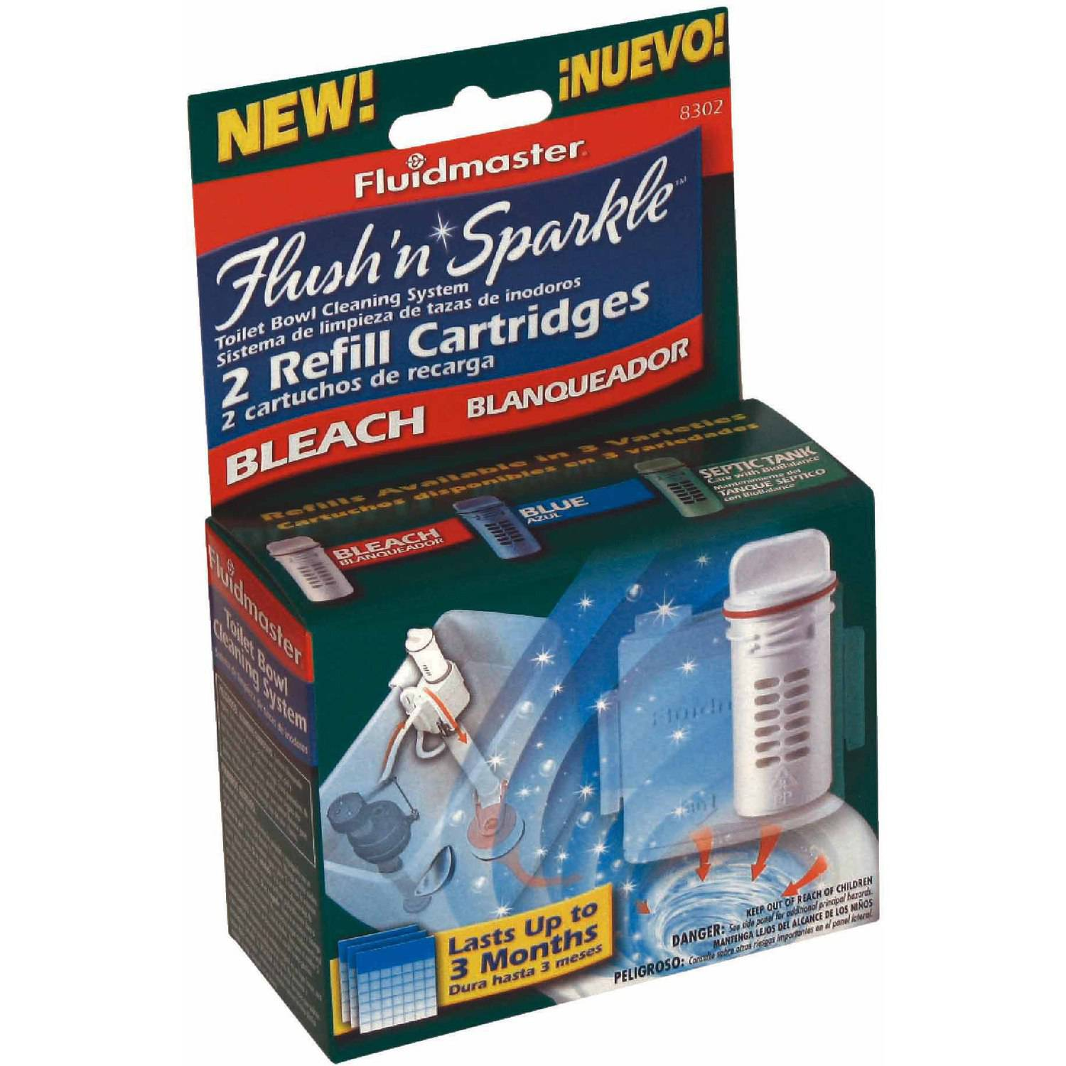 Fluidmaster 8302P8 Flush N Sparkle Bleach Replacement Cartridge