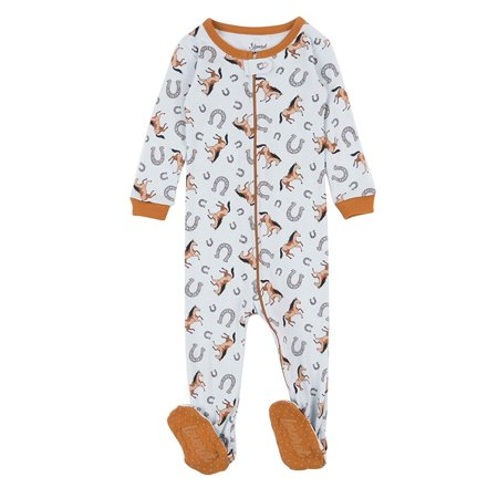 Leveret Kids Pajamas Baby Boys Girls Footed Pajamas Sleeper 100% Cotton (Horse, Size 4 Toddler) Cotton Footed Sleeper Pajamas