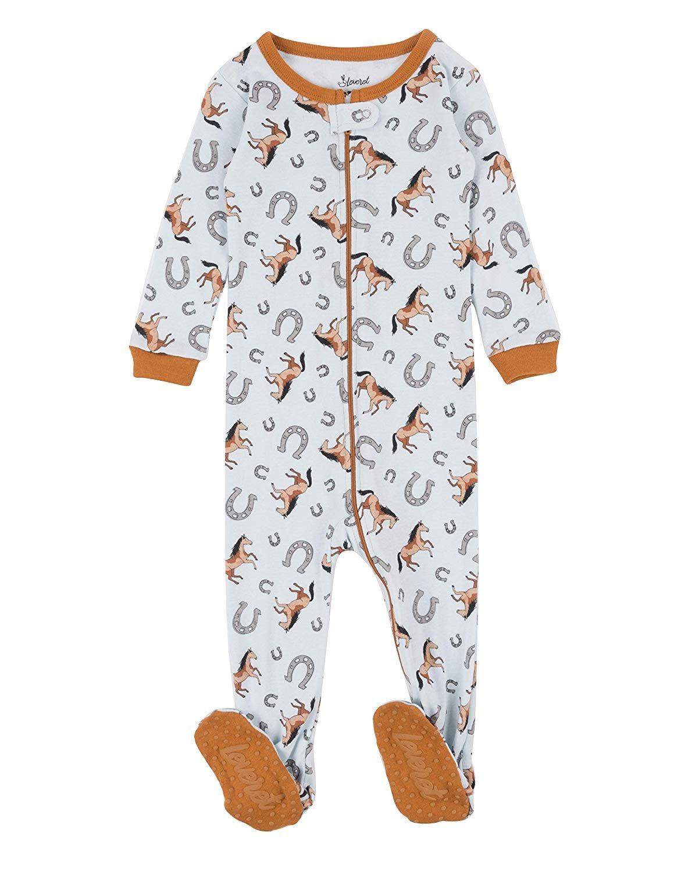 Leveret Kids Pajamas Baby Boys Girls Footed Pajamas Sleeper 100% Cotton (Horse, Size 4 Toddler)