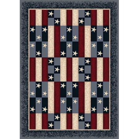 Milliken Peridot Prairie Star (Milliken Seasonal Inspirations Area Rugs - Novelty 07350 Denim Stars Stripes America Patriotic)