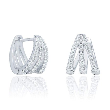 Aliyah 18k White Gold Round Cut CZ Crystal Pave Huggie Hoop Earrings, Unique Silver Crystal Small Hoops for Women, Pave Cluster Earring Set, Wedding Anniversary Jewelry MSRP - $160