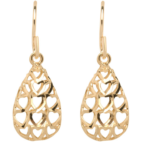 Simply Gold 10kt Yellow Gold Diamond-Cut Teardrop Earrings