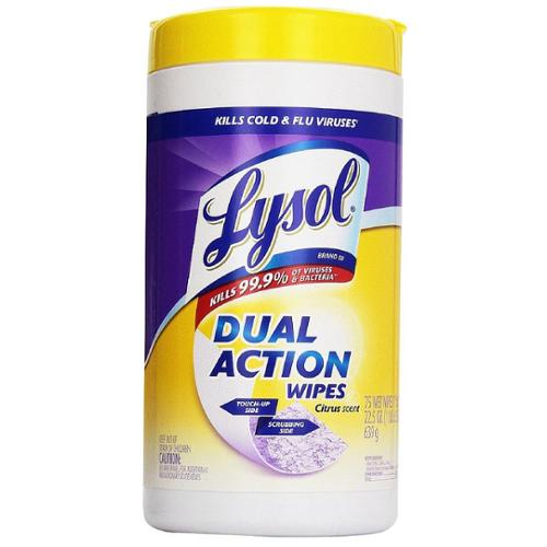 LYSOL Dual Action Disinfecting Wipes, Citrus Scent 75 ea (Pack of 6)