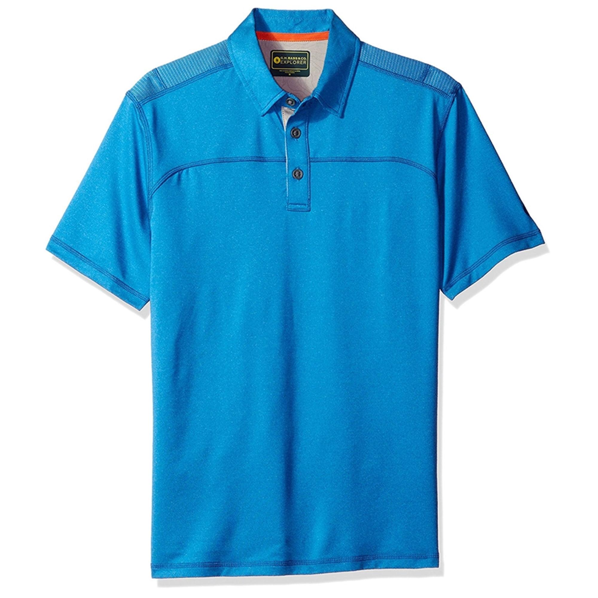 Bass /& Co Splash Mens Button Down Safari Shirt Blue 2XL G.H