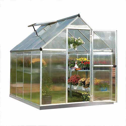 Palram Nature Series Mythos 6' x 8' Hobby Greenhouse, Silver by Greenhouses