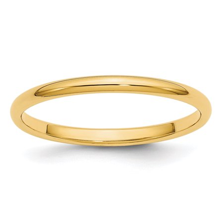 Side Set Dome Ring - 14kt Yellow Gold 2mm Half Round Wedding Ring Band Size 6.50 Classic Domed Fine Jewelry Ideal Gifts For Women Gift Set From Heart