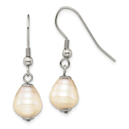 Chisel Stainless Steel Freshwater Cultured Pearl Shepherd Hook Earrings Freshwater Stainless Steel Earrings