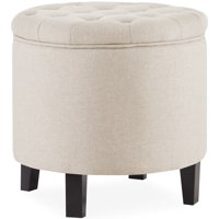 Belleze Nailhead Round Tufted Storage Ottoman Large Footrest Stool Coffee Table Lift Top, (Gray / Beige / Blue)