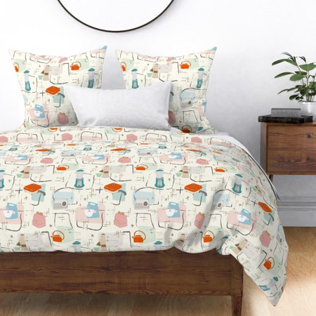 Mid Century Modern Retro Kitchen 1950S Sf1dc5era Sateen Duvet Cover by Roostery