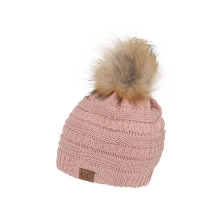 fbf54e6ad0ebf Gravity Threads Cable Knit Faux Fur Pom Pom Beanie Hat - Walmart.com