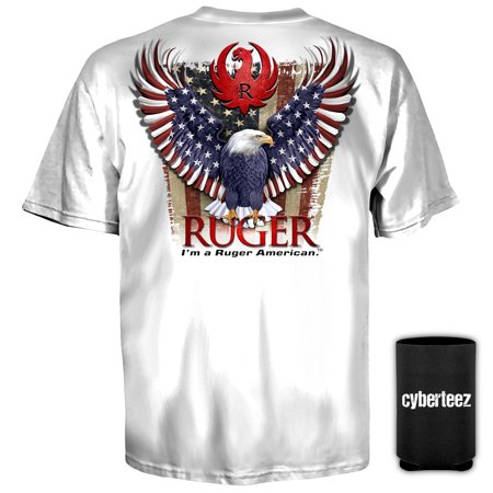 (Sturm Ruger & Co American Eagle Logo WHITE T-Shirt + Coolie (S))