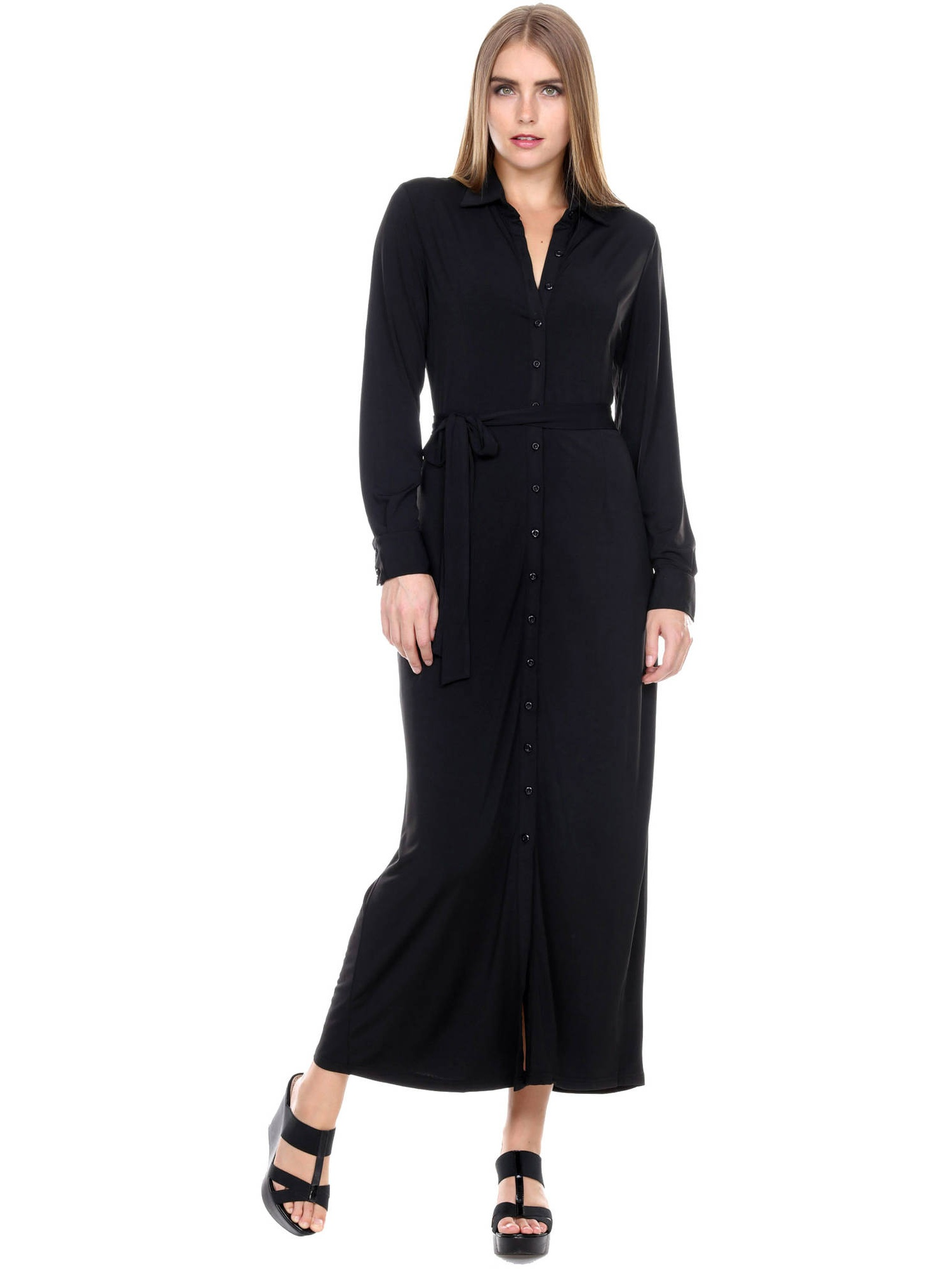 Stanzino Womens Long Sleeve Button Front Belted Maxi Dress